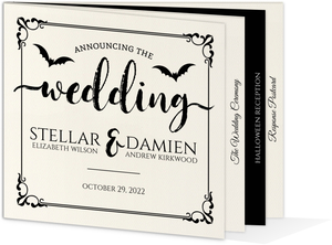 Ornamental Decor Halloween Wedding Booklet Invitation