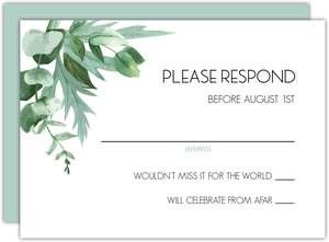 Modern Greenery Wedding Response Card