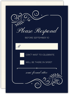 Swirly Elegant Frame Wedding Response Card