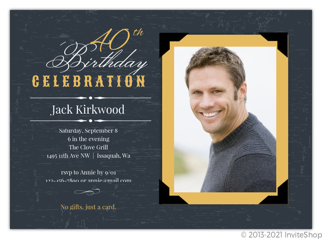Vintage Yellow Frame 40th Birthday Invitation