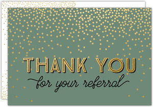 Faux Gold Confetti Referral Thank You Postcard