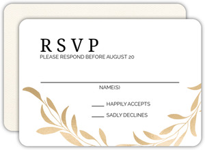 Faux Gold Laurel Wedding Response Card