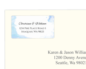 Winter Blue Watercolor Address Label