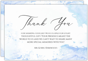 Winter Blue Watercolor Wedding Thank You Card