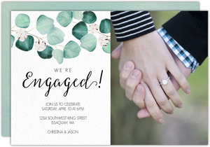 Elegant Silver Dollar Engagement Announcement