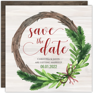 Christmas Wedding Wreath Save The Date