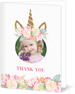 Faux Glitter & Watercolor Unicorn Birthday Thank You Card