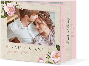 Pink Roses Burlap Wedding Booklet Invitation