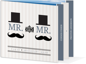 Fedora & Mustache Gay Wedding Booklet Invitation