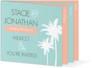 Tropical Beach Wedding Booklet Invitation