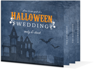Haunted Rustic Blue Floral Halloween Wedding Booklet Invitation
