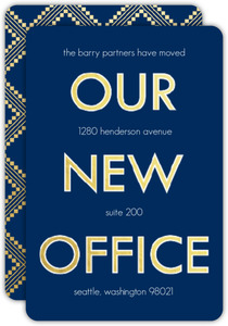 Faux Gold Pattern New Office Moving Announcement