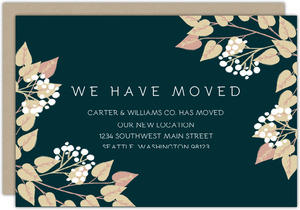 Rustic Foliage Frame Business Moving Announcement