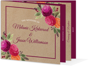 Rustic Kraft Watercolor Floral Booklet Wedding Invitation