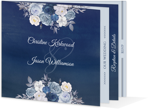 Navy Flower Arrangement Booklet Wedding Invitation