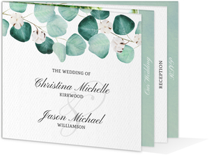 Silver Dollar Branches Wedding Booklet Invitation