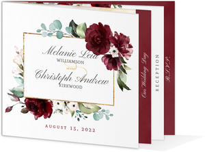 Burgundy Watercolor Florals Wedding Booklet Invitation