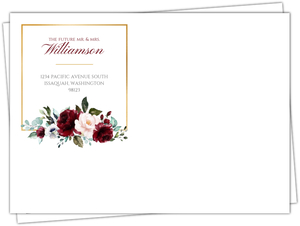 Burgundy Watercolor Florals Custom Envelope