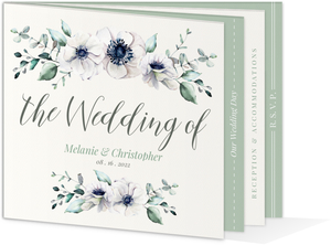 Watercolor Anemone Floral Wedding Booklet Invitation