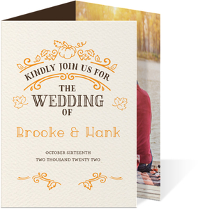 Rustic Orange Pumpkin Trifold Wedding Invitation