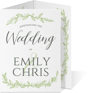Green Pattern Foliage Trifold Wedding Invitation