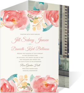 Elegant Pink Watercolor Flower Trifold Wedding Invitation