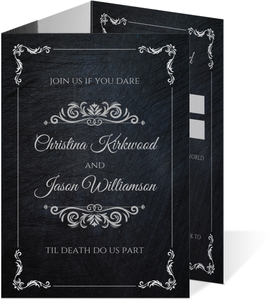 Dark Elegant Trifold Wedding Invitation