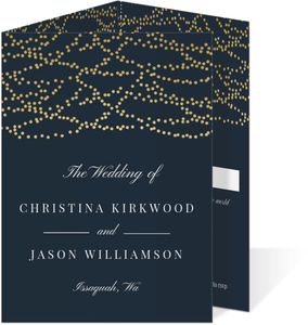 Faux Gold Dangling Lights Trifold Wedding Invitation