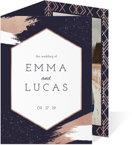 Modern Faux Rose Gold Trifold Wedding Invitation