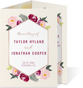 Boho Pink Floral Trifold Wedding Invitation
