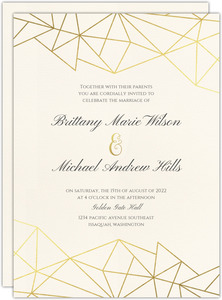 Modern Geometric Foil Wedding Invitation