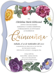 Spring Flowers Frame Quinceanera Invitation
