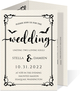 Ornamental Decor Halloween Trifold Wedding Invitation