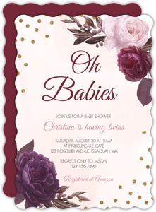 Burgundy Floral Confetti Twins Baby Shower Invitation