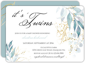 Faux Foil Aqua Foliage Twins Baby Shower Invitation
