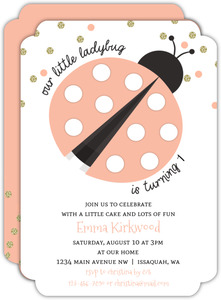 Glitter And Coral Confetti Ladybug Birthday Invitation