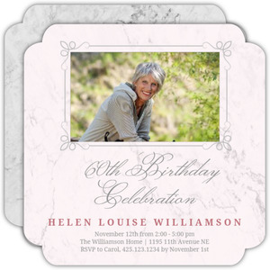Blush Marble 60th Birthday Invitation