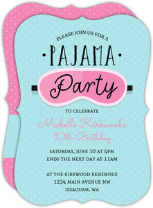 Pink Sleeping Mask Slumber Party Birthday Invitation