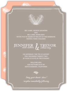 Artistic Framed Feathers Wedding Invitation