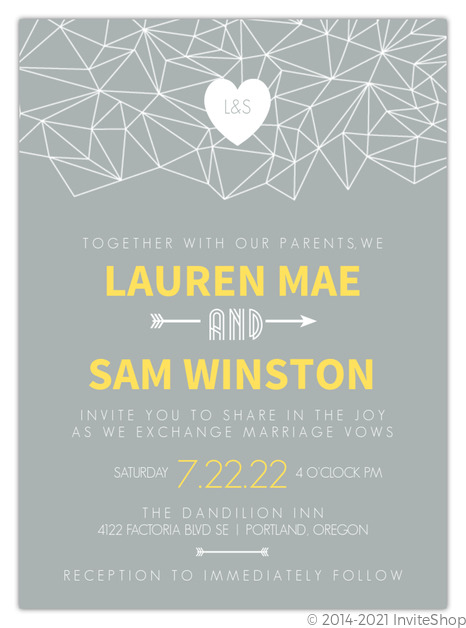modern geometric pattern wedding invitation
