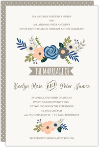 Fresh Florals Taupe Accents Wedding Invitation