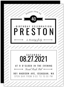 Modern White & Black Birthday Invite
