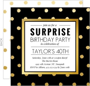 Gold And Black Surprise 40th Birthday Invitation