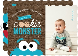 Blue Cookie Monster Photo First Birthday Invitation
