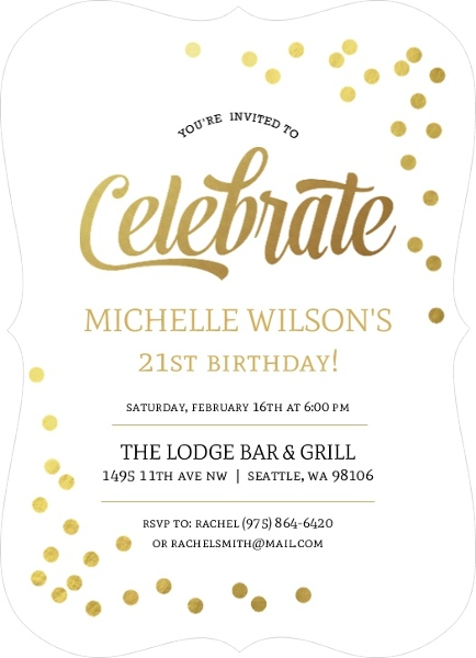Faux Gold Foil Confetti 21st Birthday Invitation