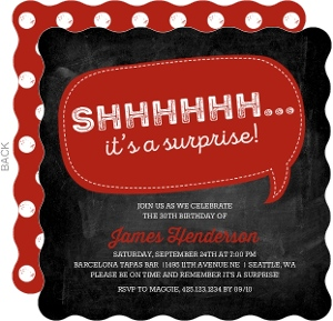 Red Chalkboard Surprise Party Invitation