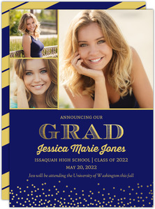 Navy Floral Graduation Announcement