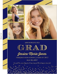 Navy and Gold Foil Confetti Graduation Announcement