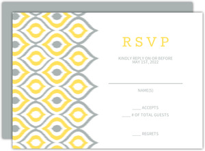 Chic Yellow Ikat Wedding Response Card