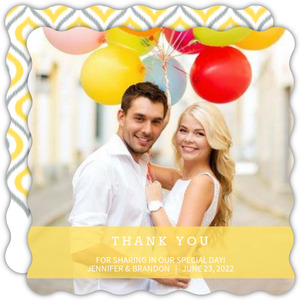 Chic Yellow Ikat Wedding Thank You Card